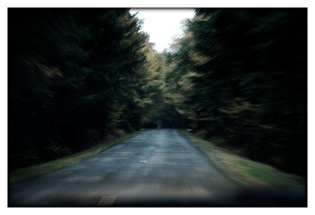 Route dans la pénombre
